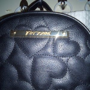 Betsey Johnson Bags - Betsey Johnson Black Faux Leather Backpack